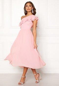 BUBBLEROOM Carolina Gynning Frill one shoulder dress Light pink Bubbleroom.fi