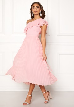 BUBBLEROOM Carolina Gynning Frill one shoulder dress Light pink Bubbleroom.fi