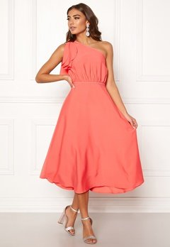 BUBBLEROOM Carolina Gynning One shoulder dress Coral Bubbleroom.fi