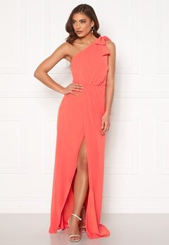 BUBBLEROOM Cyrene one shoulder chiffon gown Coral Bubbleroom.fi