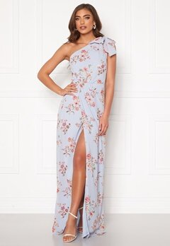 BUBBLEROOM Cyrene one shoulder chiffon gown Light blue / Floral Bubbleroom.fi