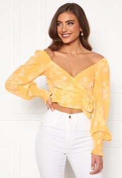 BUBBLEROOM Devin wrap top Yellow / White Bubbleroom.fi