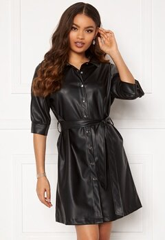 BUBBLEROOM Ella PU shirt dress Black Bubbleroom.fi