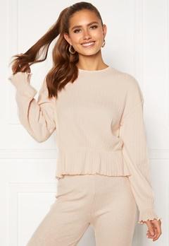 BUBBLEROOM Elleny ribbed flounce sweater Cream Bubbleroom.fi