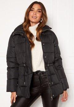 BUBBLEROOM Ellinora tie waist puffer jacket Black Bubbleroom.fi