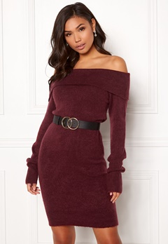 BUBBLEROOM Ember knitted dress Wine-red Bubbleroom.fi