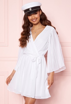 BUBBLEROOM Fayme pleated sleeve dress White Bubbleroom.fi