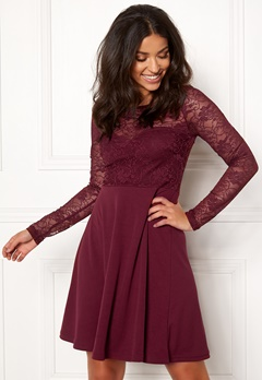 BUBBLEROOM Grace lace dress Wine-red Bubbleroom.fi