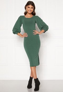 BUBBLEROOM Gry rib midi dress Green Bubbleroom.fi