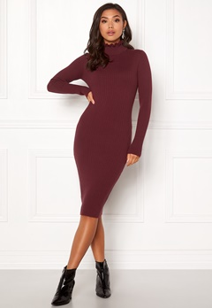BUBBLEROOM Hilma knitted dress Wine-red Bubbleroom.fi
