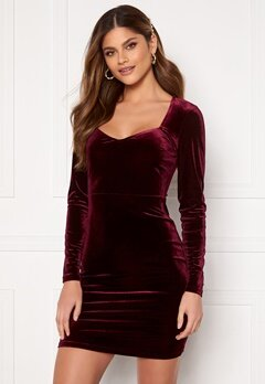 BUBBLEROOM Joan velvet dress Dark wine-red Bubbleroom.fi