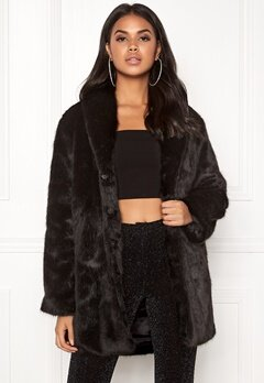 BUBBLEROOM Lene faux fur coat Black Bubbleroom.fi