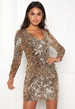 BUBBLEROOM Lene sequin dress Gold Bubbleroom.fi