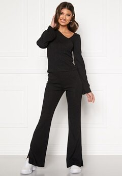 BUBBLEROOM Lesley rib trousers Black Bubbleroom.fi
