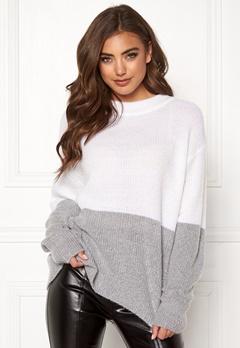 BUBBLEROOM Lindy block knitted sweater Grey melange Bubbleroom.fi