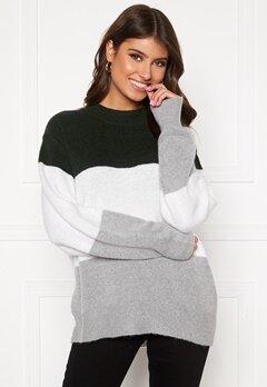 BUBBLEROOM Lindy block knitted sweater Light grey / Dark grey Bubbleroom.fi