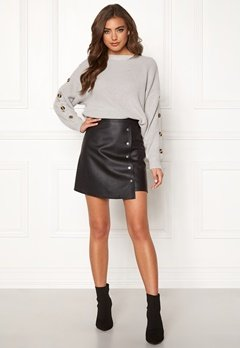 BUBBLEROOM Line PU skirt Black Bubbleroom.fi
