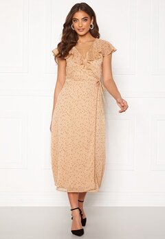 BUBBLEROOM Liw wrap dress Beige / Brown / Dotted Bubbleroom.fi