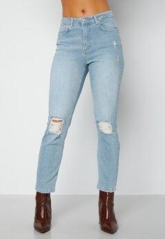 BUBBLEROOM Loreena distressed high waist jeans Light denim bubbleroom.fi