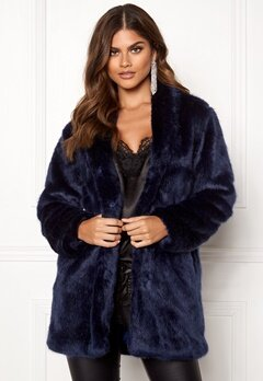 BUBBLEROOM Luxure faux fur coat Dark blue Bubbleroom.fi