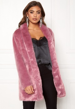 BUBBLEROOM Luxure faux fur coat Dusty pink Bubbleroom.fi