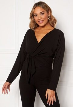 BUBBLEROOM Lykke wrap top Black Bubbleroom.fi