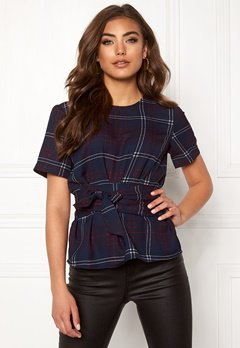 BUBBLEROOM Maddie tie blouse Navy / Checked Bubbleroom.fi