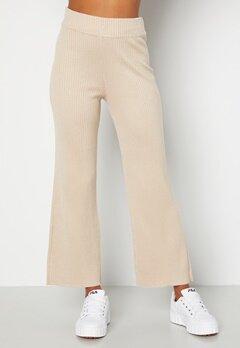 BUBBLEROOM Marah knitted long trousers Light beige bubbleroom.fi