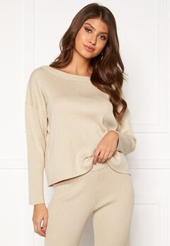BUBBLEROOM Marah knitted sweater Light beige Bubbleroom.fi