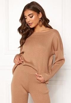 BUBBLEROOM Marah knitted sweater Camel Bubbleroom.fi