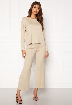 BUBBLEROOM Marah knitted trousers Light beige Bubbleroom.fi