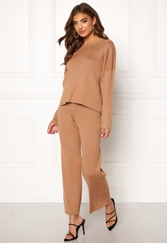 BUBBLEROOM Marah knitted trousers Camel Bubbleroom.fi