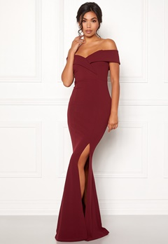 BUBBLEROOM Marianna folded off shoulder gown Wine-red Bubbleroom.fi