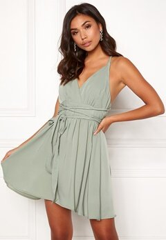 BUBBLEROOM Marianna cross back dress Dusty green Bubbleroom.fi