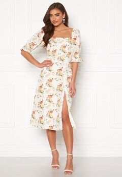 BUBBLEROOM Melis puff sleeve dress Cream / Floral Bubbleroom.fi
