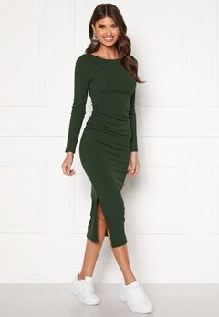 BUBBLEROOM Minea drapy dress Dark green Bubbleroom.fi