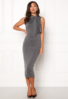 BUBBLEROOM Molly collar tie dress Dark grey Bubbleroom.fi