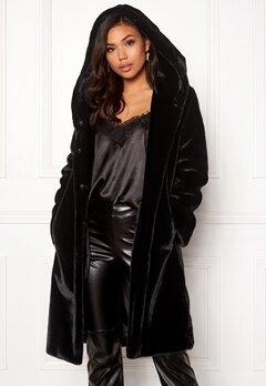 BUBBLEROOM Molly faux fur coat Black Bubbleroom.fi