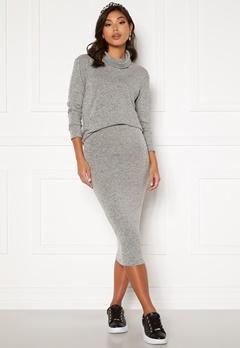 BUBBLEROOM Nalia fine knitted skirt Light grey melange Bubbleroom.fi