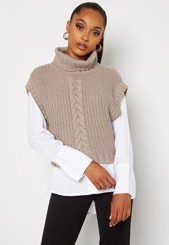 BUBBLEROOM Nanja knitted vest Dark beige bubbleroom.fi
