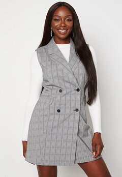 BUBBLEROOM Nellie blazer vest dress Black / White / Checked bubbleroom.fi