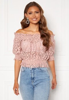 BUBBLEROOM Peaches off shoulder top Dusty pink Bubbleroom.fi