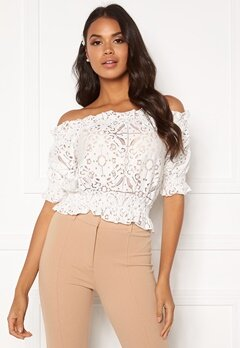 BUBBLEROOM Peaches off shoulder top White Bubbleroom.fi