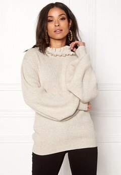 BUBBLEROOM Sally knitted sweater Beige melange Bubbleroom.fi