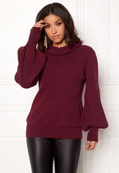 BUBBLEROOM Sally knitted sweater Wine-red Bubbleroom.fi