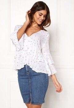 BUBBLEROOM Samantha dotted blouse White / Black / Dotted Bubbleroom.fi