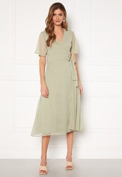 BUBBLEROOM Scarlette midi dotted dress Dusty green Bubbleroom.fi