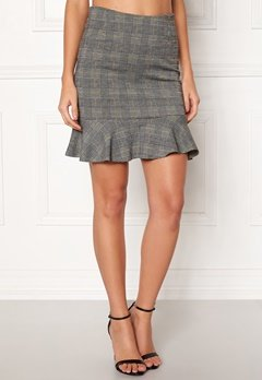 BUBBLEROOM Serena flounce skirt Grey / Yellow / Checked Bubbleroom.fi