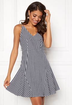 BUBBLEROOM Sienna flounce dress Black / White / Checked Bubbleroom.fi