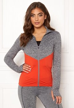 BUBBLEROOM SPORT Burpees then slurpees sport jacket Grey melange / Red Bubbleroom.fi